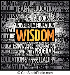 Wisdom word cloud collage