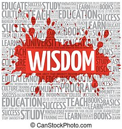 Wisdom word cloud, education concept