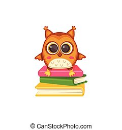 Wise and cute school owl on stack of books flat vector illustration isolated.