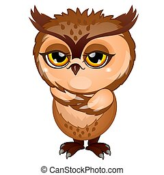 Wise brown owl isolated on white background. Cartoon vector close-up illustration.