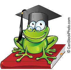 Wise frog cartoon
