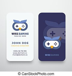 Wise Gaming Abstract Vector Sign or Logo and Business Card Template. Premium Stationary Realistic Mock Up. Flat Style Gamepad Icon Incorporated in an Owl Face