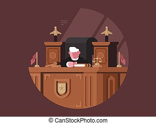 Wise judge in chair at workplace