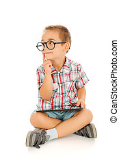 Wise little boy with tablet pc - Wise little boy thinking,...