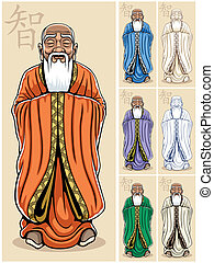 Wise Man - Vector illustration of Asian wise man. It is in 7...