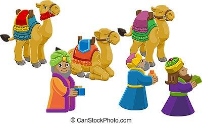 Wise Men Christmas Nativity Scene Cartoon