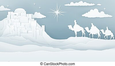 Christmas Christian Nativity Scene of three wise men magi looking up at the star of Bethlehem leading them to the birth of Jesus Christ with the city in the distance. Vintage paper art style.
