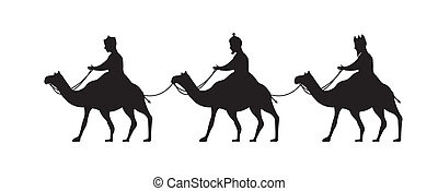 wise men over camels, merry christmas. vector illustration