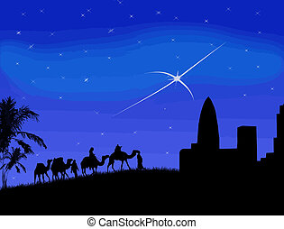 Wise men traveling to Bethlehem, following the star - vector...