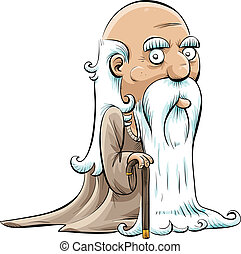 Wise Old Man - A wise, old cartoon man with a cane and a ...