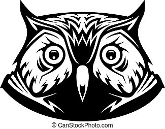 Black and white vector illustration of the head a wise old owl looking directly at the viewer, on white