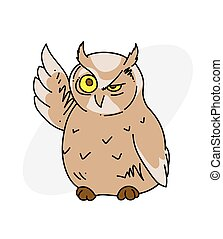 Wise old owl cartoon hand drawn image. Original colorful artwork, comic childish style drawing.