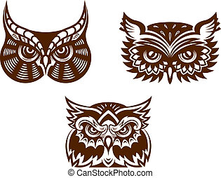 Wise old owl heads with decorative feather detail for tattoo...