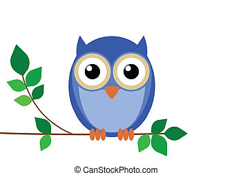 Wise old owl sat on a tree branch