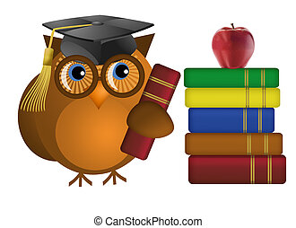 Wise Old Owl with Books - Wise Old Owl with Colorful Text...