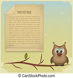 wise owl and old paper on vintage background - vector...