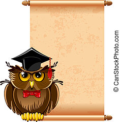 Wise owl - Cartoon wise owl in graduation cap and scroll...