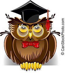 Wise owl - Cartoon wise owl in graduation cap