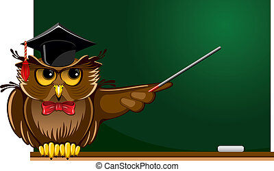 Cartoon wise owl in graduation cap sitting on the school board. There is place for your text.