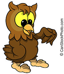 Wise Owl - Colored Cartoon Illustration, Vector