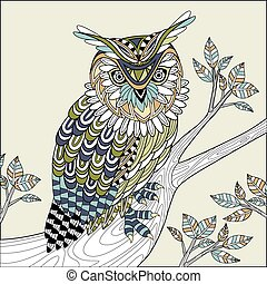 wise owl coloring page in exquisite style