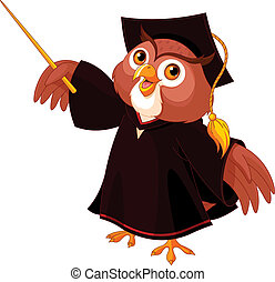 Wise owl - Cartoon of pointing wise owl
