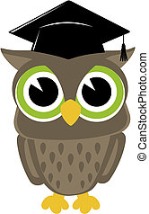 wise owl graduation isolated - wise owl; owl; mortarboard;...