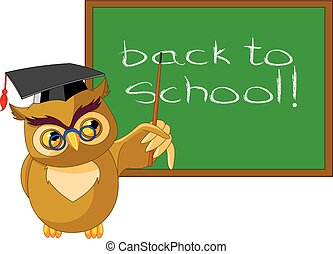 Wise Owl - Illustration of a wise owl and chalkboard