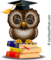 Wise owl on a stack of books