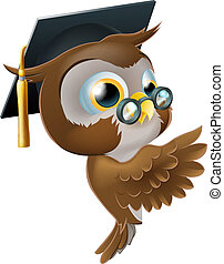 Wise Owl Pointing Sign - Illustration of a happy cute wise...