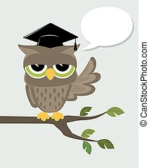 wise owl says - wise owl with mortarboard sitting on a ...