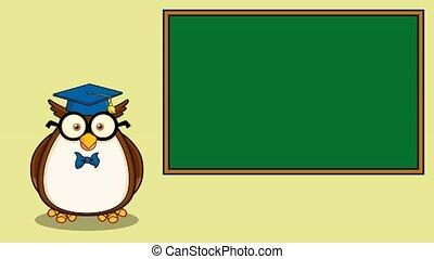 Wise Owl Teacher Cartoon Character In Front Of School Chalk ...