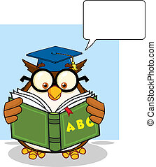 Wise Owl Teacher Cartoon Mascot Character Reading A ABC Book...