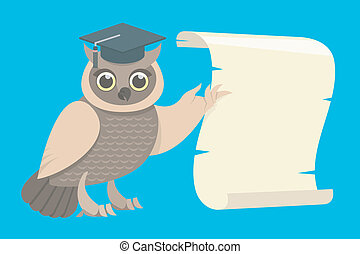 Wise Owl with a Scroll