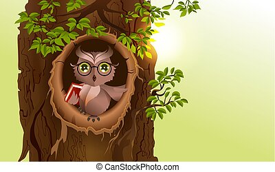 Wise owl with book in hollow of tree. Knowledge Day