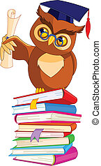 Wise Owl with graduation cap - Illustration of a cartoon...