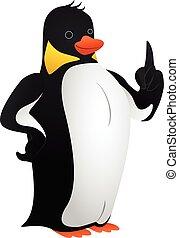 Wise penguin icon, cartoon style