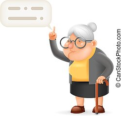 Wise Teacher Guidance Granny Old Lady Character Cartoon 3D...