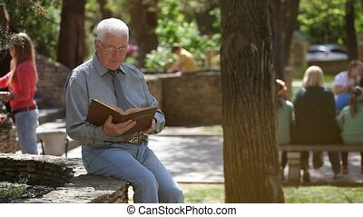Wise white-haired man in glasses sits and reads in a street...