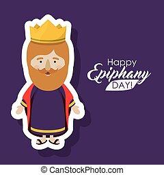 wiseman, caricatura, de, feliz, epifanía, día, diseño