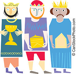 Wisemen - Illustration vector. Star of Bethlehem. Nativity