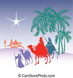 wisemen silhouette cartoon vector illustration