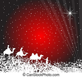 Wisemen silhouette - Illustration of three wise men on their...
