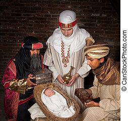 Wisemen visiting Jesus - Live Christmas nativity scene...