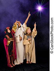 Wisemen watching christmas star