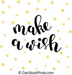 wish., csinál, lettering., ecset