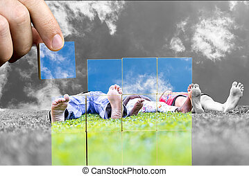 Wish for a happy family with a low angle of image of...