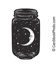 Wish jar with moon and stars - Hand drawn wish jar. Crescent...