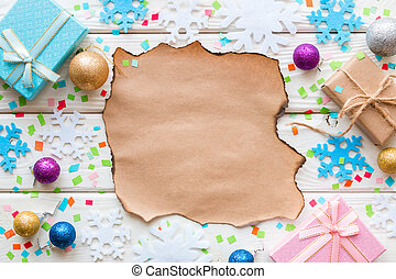 wish list, Christmas toys and gifts on a background of confetti