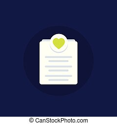 Wish list icon, flat style vector